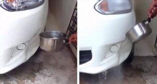 acqua bollente su auto