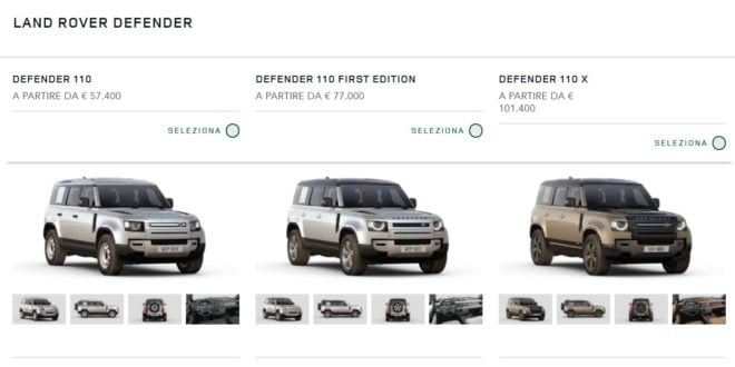 prezzo land rover defender