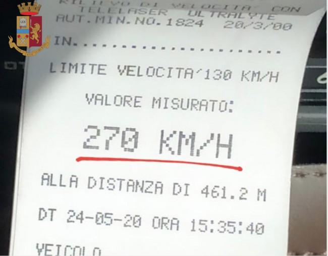 Telelaser Porsche 270 km/h A4